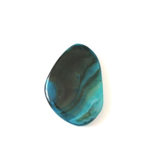 Pandantiv masiv triunghi #7 agata 58x38mm albastru