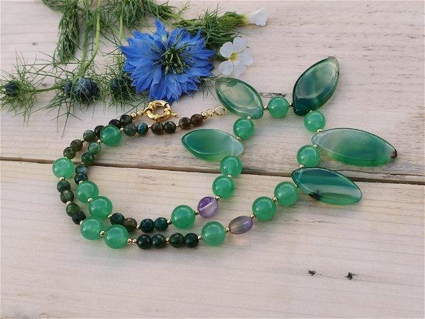 Colier green agat&jad