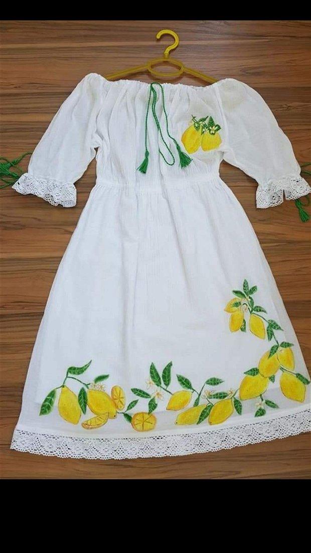 Rochie din panza topita, pictata manual cu lămâi
