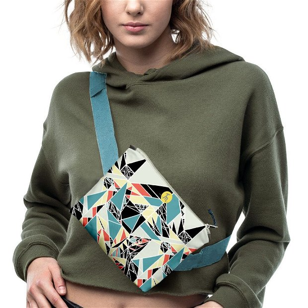 Borseta Handmade Fanny Pack, Mulewear, Geometric Abstract Matematica, Multicolor, 22x19 cm