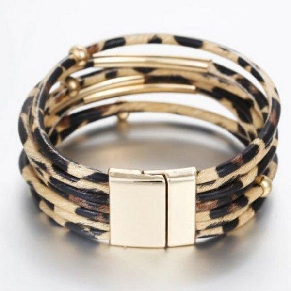 K1112 - Bratara piele ecologica, nisipiu negru, print leopard, inchizatoare magnetica