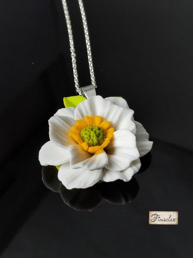 Pandantiv argint anemona albă