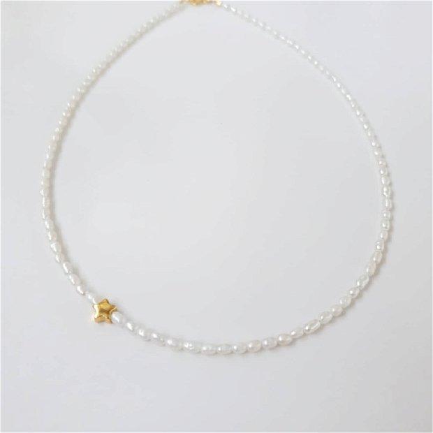 Colier perle naturale si steluta argint placat cu aur