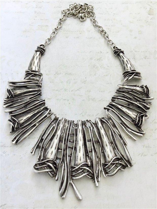Colier boho zamac argintat