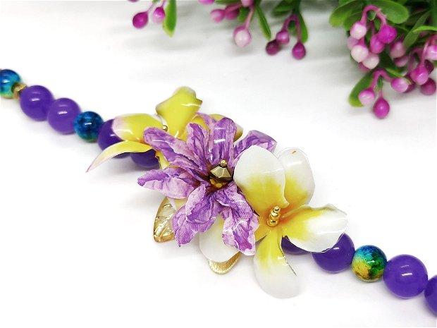 Bratara flori colorate cu alexandrit