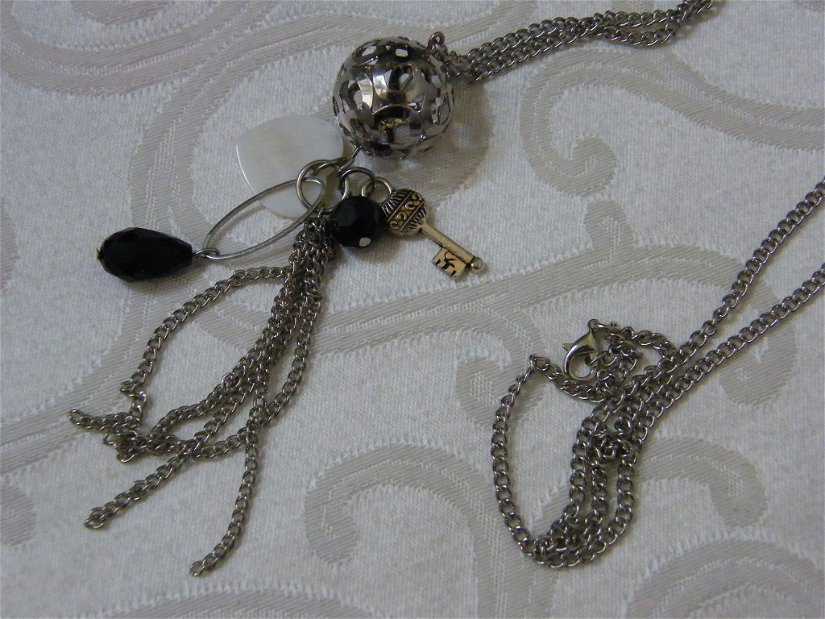 Lanț  argintiu decor posete