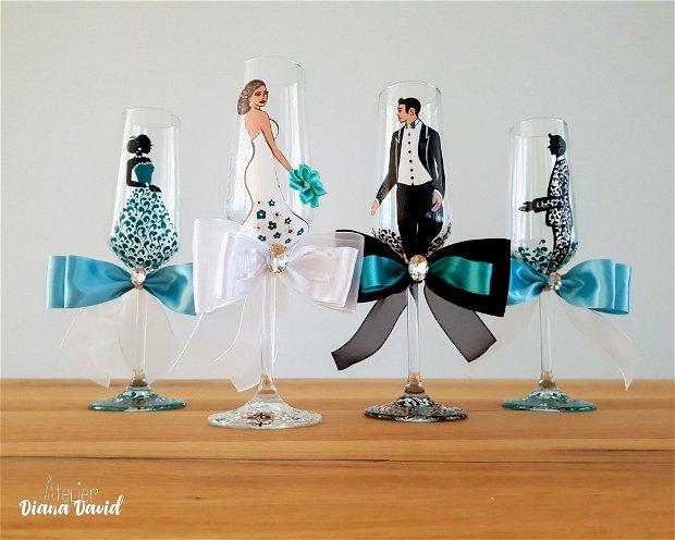 Pahare de nunta, miri si nasi pictate manual