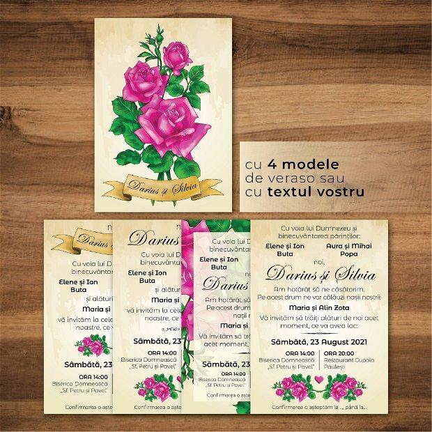 Invitatie nuntă - TRANDAFIRI ROZ