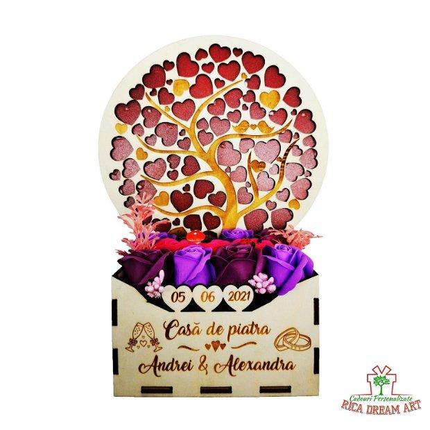 """Aranjament floral personalizat cununie """"Casa de piatra"""", Copacul cu inimi"""