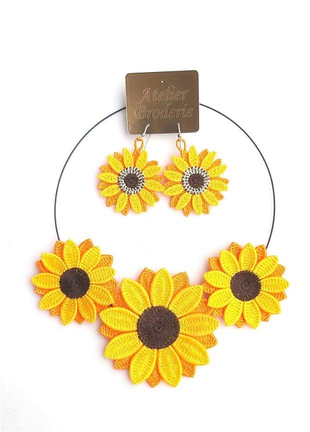 Set cercei si colier Floarea Soarelui dubla   Sunflower