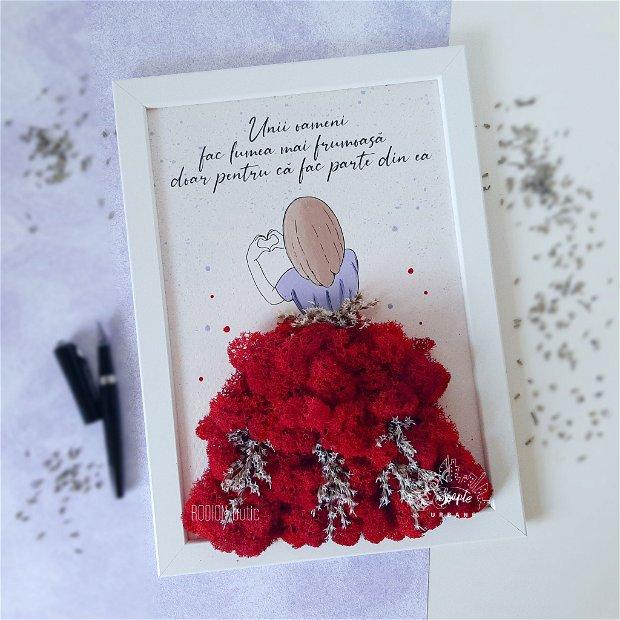 Tablou cu licheni fata pictat manual personalizat cu mesaj