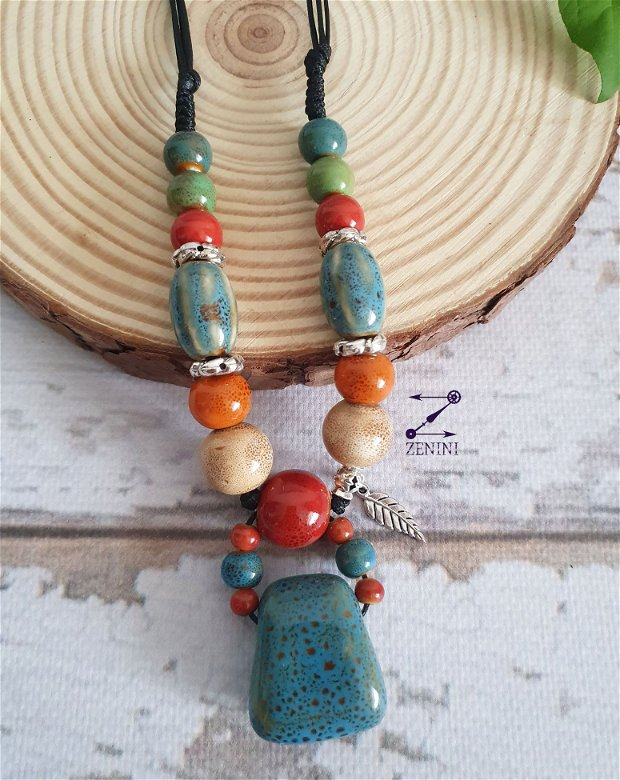 Colier ceramica, margele ceramica, colier colorat de vara, colier margele colorate, coliere ceramica
