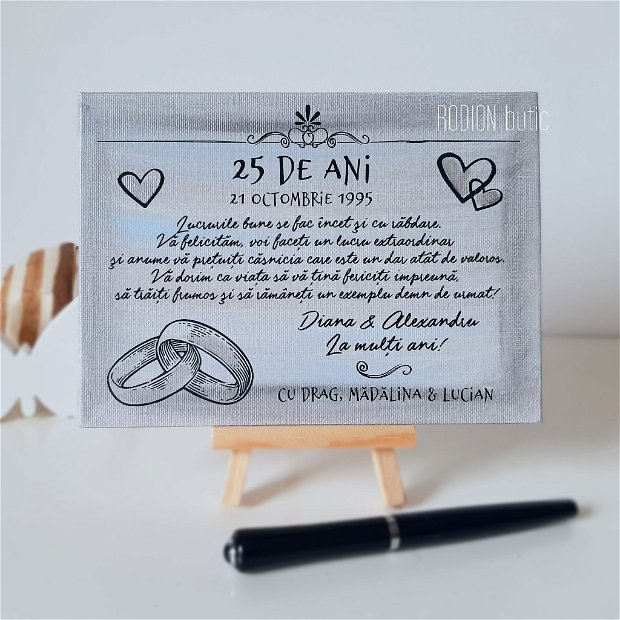 Placuta nunta de argint personalizata handmade pictata manual