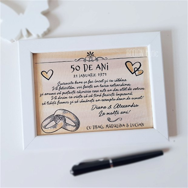 Placuta nunta de aur personalizata handmade pictata manual