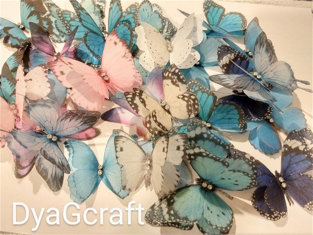 Fluturi turcoaz din matase naturala pentru rochii
