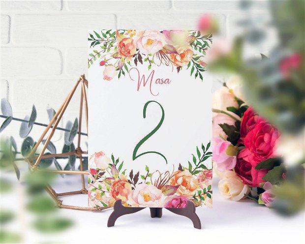 Numere masa, flori, numere de masa cu flori roz, nunta handmade, numere de masa moderne, nunta rustica