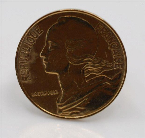 Inel reglabil din alama, din moneda frantuzeasca, din colectia Reversul monedei