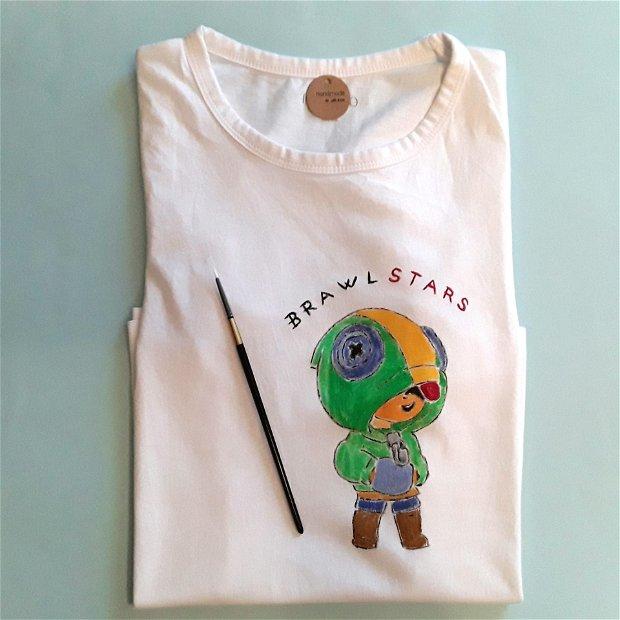 Tricou copii personalizat si pictat manual brawl stars