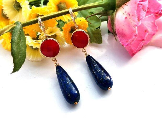 Cercei jad &lapis lazuli