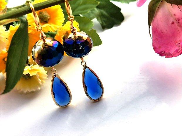 Cercei blue cristal