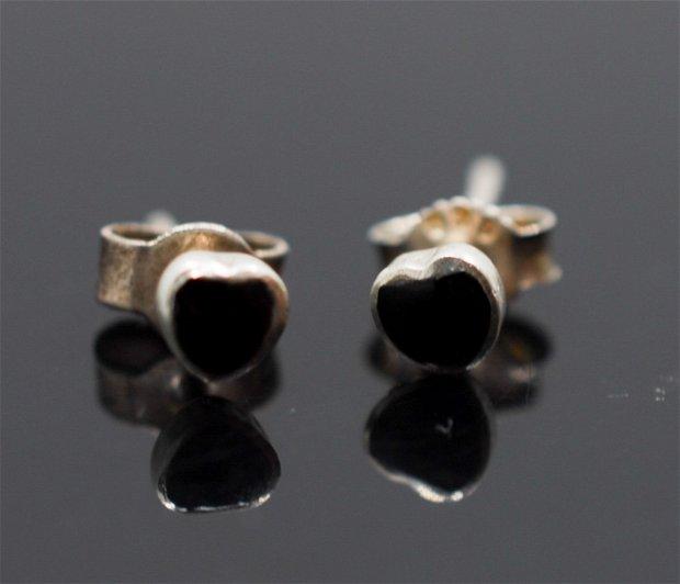 Cercei din argint inimioare din onix natural