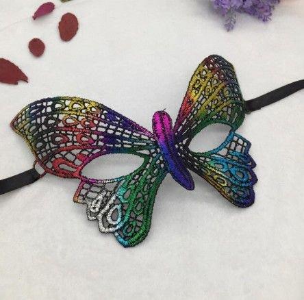K1215 - Masca de carnaval, dantela, broderie, fir matasos, multicolora, curcubeu, fluture