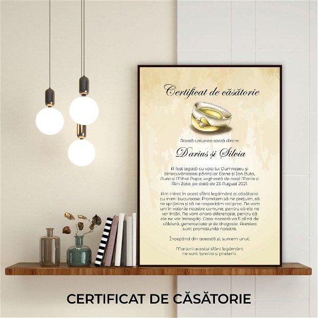 Certificat de căsătorie - VERIGHETE cu INIMI