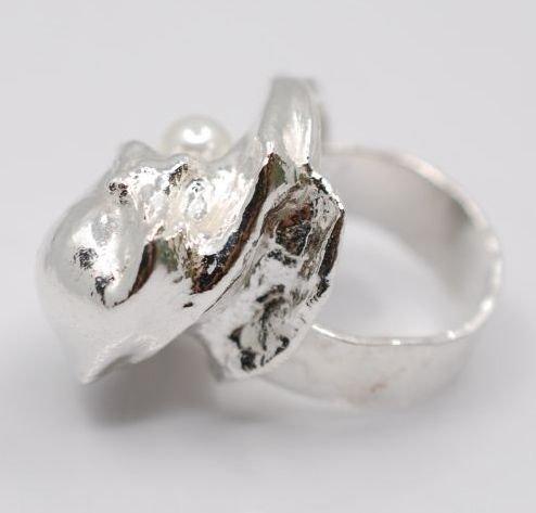 NAUTILLUS Inel argint 925&999 cu aquamarin faţetat si perlă de cultură