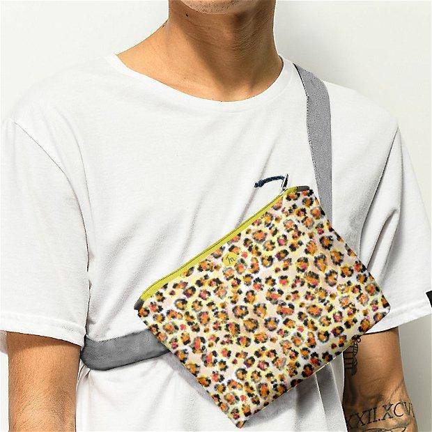 Borseta Handmade Fanny Pack, Mulewear, Animal Print Leopard, Multicolor, 22x19 cm
