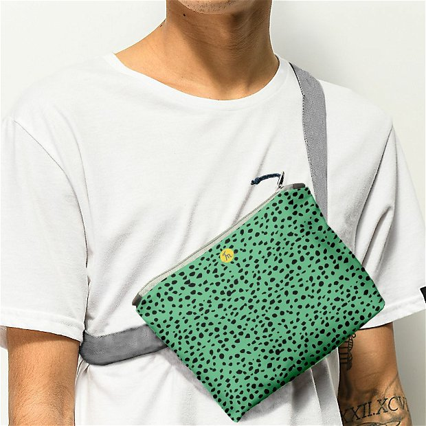 Borseta Handmade Fanny Pack, Mulewear, Animal Print Coral, Multicolor, 22x19 cm