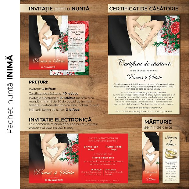 Invitatie nuntă -electronică- INIMA NOASTRĂ - ROȘU
