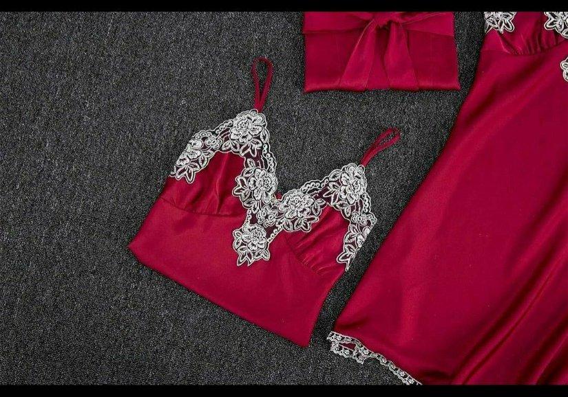Set pijama saten+ dantelă  5 piese