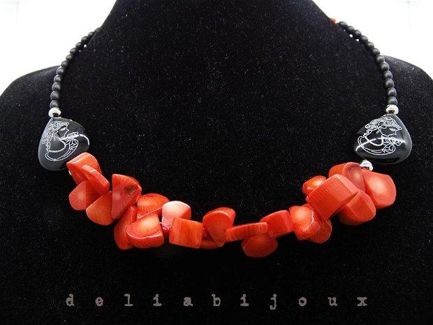 Colier onix si coral