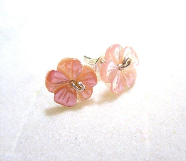 Cercei argint si flori sidef roz