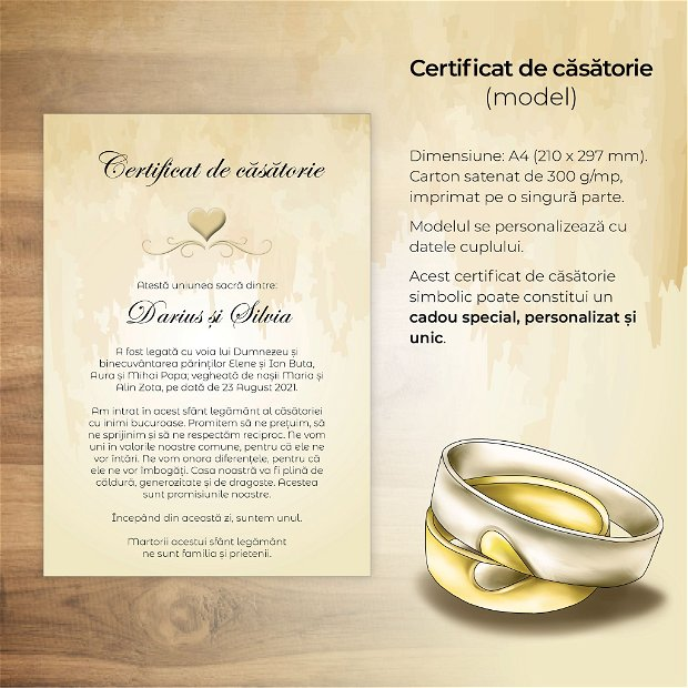 Certificat de căsătorie - INIMĂ