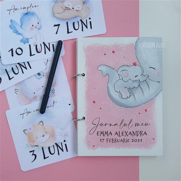 Jurnalul bebelusului personalizat cu nume pictat manual