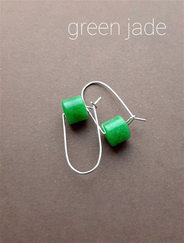 Cercei argintii cu jad verde