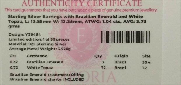 Cercei din argint cu smarald brazilian si topaz alb