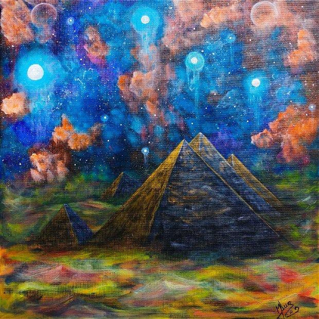 "Tablou pictura piramide ""Giza"" vacanța cadou Egipt fantasy arta panza"