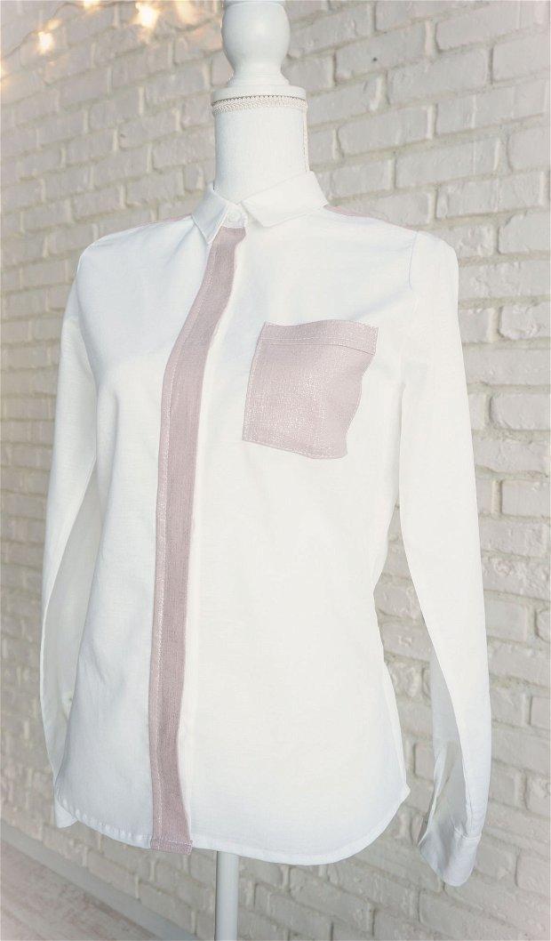Camasa Dama In Alb cu Roz Argintiu (masura S in stoc)