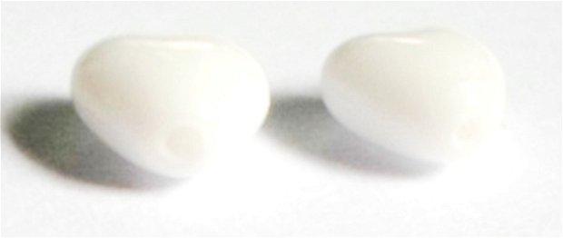 Margele sticla inima alb mat 6 mm