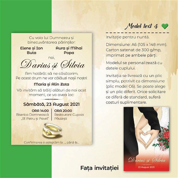 Invitatie nuntă - INIMA NOASTRĂ - ROȘU