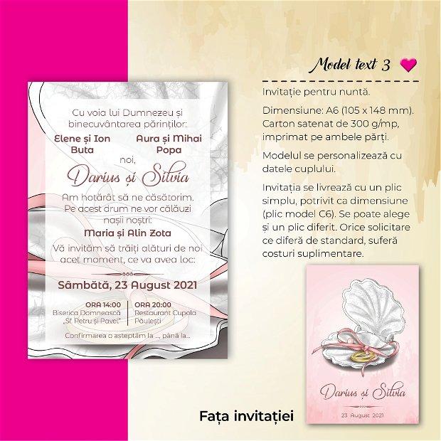 Invitatie nuntă - MARIN - scoică ROZ