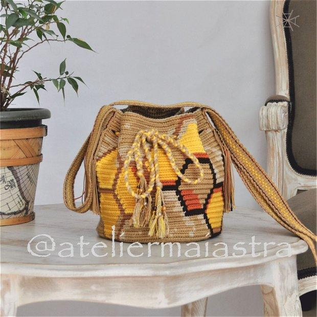 geanta fagure miere handmade crosetata