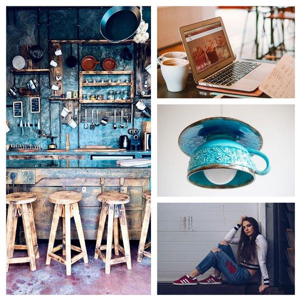 "Lustra Deco Republic ""ARMONIE DIN LUMINA"" turquoise vintage"