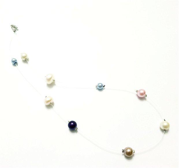 Colier perle fir transparent