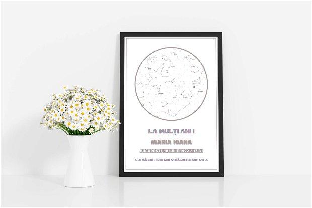 Harta personalizată a stelelor, cadou pentru prima aniversare, cerul de noapte aniversar, cadou personalizat pentru el, imprimare constelație, cadou pentru soție, cadou pentru soț , seria white-color, model 6, format digital