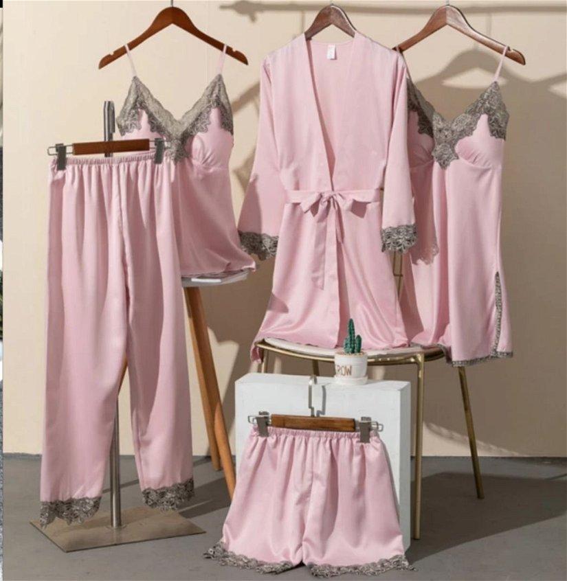 Pijama satin+dantelă  5 piese