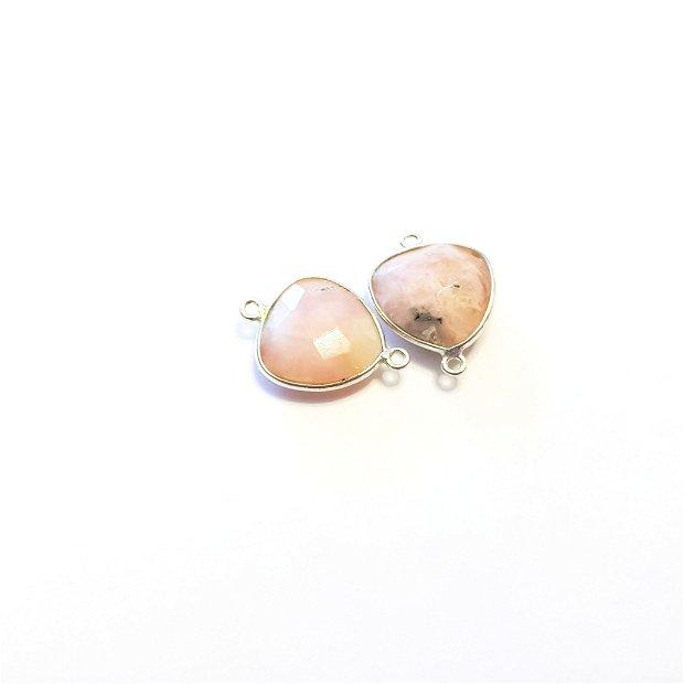 Conector , link argint 925 si opal roz fatetat 1.9 cm × 1.4 cm