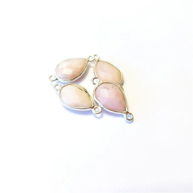 Conector , link argint 925 si opal roz fatetat 1.6 cm × 0.9 cm